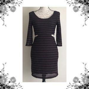 {Lovers + Friends} Chevron Knit Cut-Out Mini Dress